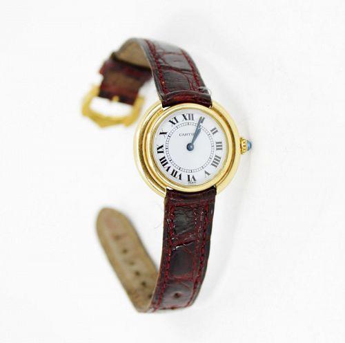 Cartier 18k gold round ladies watch manual winding
