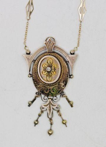 Victorian 14k Taille d'Epargne enamel tassel necklace