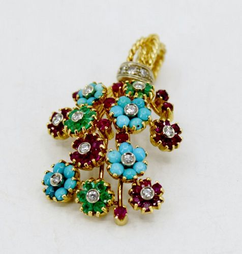 Retro Turquoise Ruby Emerald flower pendant in 18k yellow gold