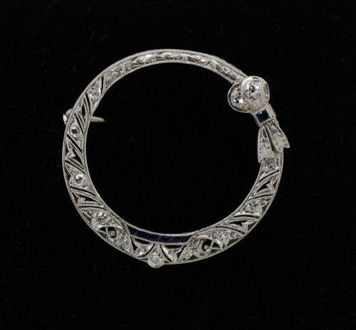 Antique, Edwardian diamond sapphire brooch pin in platinum