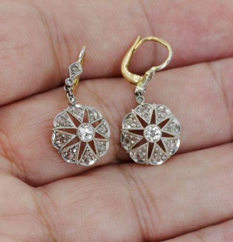 Anique Edwardian diamond dangle earrings in 18k gold