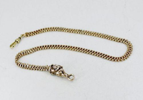 Antique, Georgian 14k gold watch chain vermeil silver dragon clasp