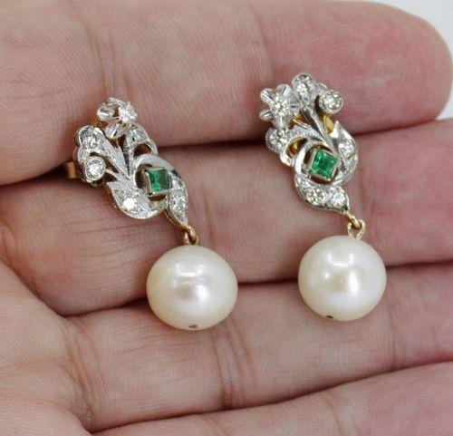 Art Deco diamond emerald pearl earrings in 18k gold and platinum