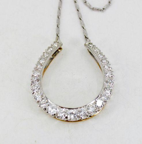 Antique 4.5ctw diamond horseshoe necklace in 14k gold