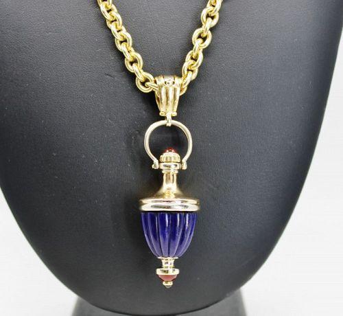 Perodri Spain Lapis Lazuli perfume bottle necklace in 18k gold