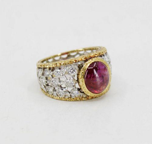 Buccellati ruby diamond ring in 18k yellow gold