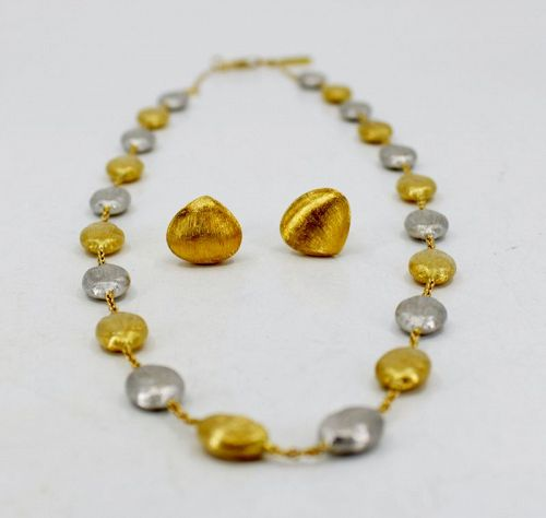 Marco Bicego Siviglia necklace earrings in 18k yellow white gold
