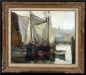 Gloucester Harbor painting by Anthony Thieme 1888-1954
