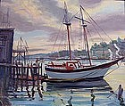 Gloucester harbor painting by MA artist Russ Webster