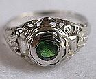 Edwardian 18K white gold ring green garnet diamonds