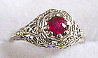 Antique Edwardian 14K white gold and ruby ring