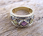 Retro 14K gold amethyst peridot diamond band ring