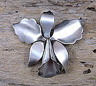 Mexican, Taxco, sterling silver orchid brooch by Hector Aguilar
