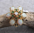 Retro 14K gold ring with Australian opals and emeralds