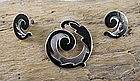 Mexican Margot de Taxco silver enamel pin earrings