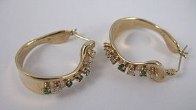 Retro 14K yellow gold diamond emerald hoop earrings