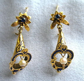 Victorian 14K gold sapphire Taille d'Epergne earrings