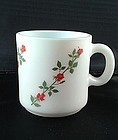 Milk glass Red Roses Mug