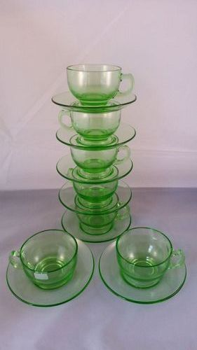 Hazel Atlas green cup and saucer set of 7