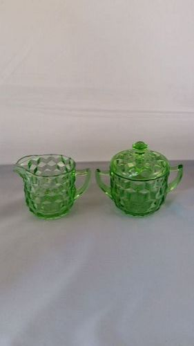 Jeannette Cube green creamer and sugar with cover