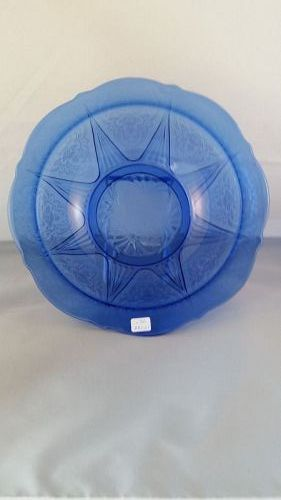 Hazel Atlas cobalt blue Royal Lace 10 inch bowl