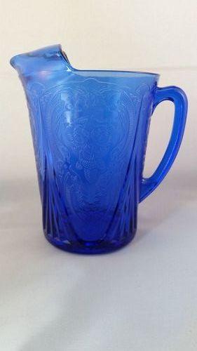 Hazel Atlas cobalt blue Royal Lace Pitcher
