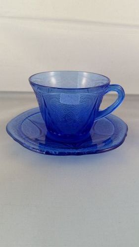 Hazel Atlas cobalt blue Royal Lace cup and saucer