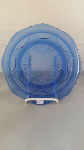 Hazel Atlas Cobalt blue Royal Lace luncheon plate