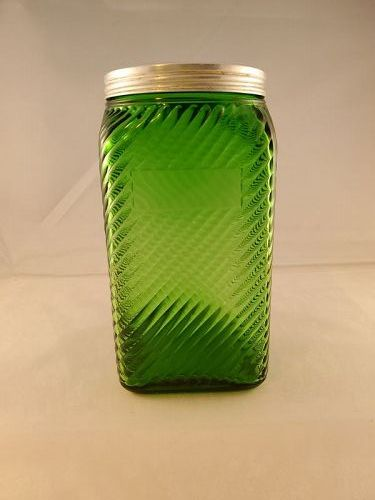 Owens Illinois 40 ounce  Green Canister Diagonal Ridged