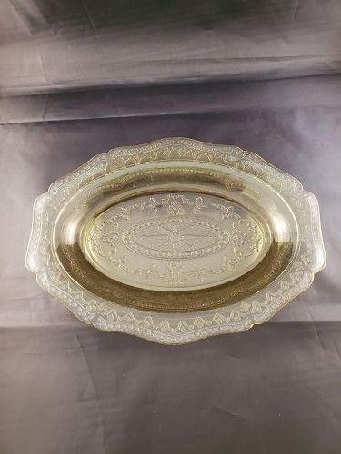Patrician Spoke Amber Oval Platter 11 1/2 inch