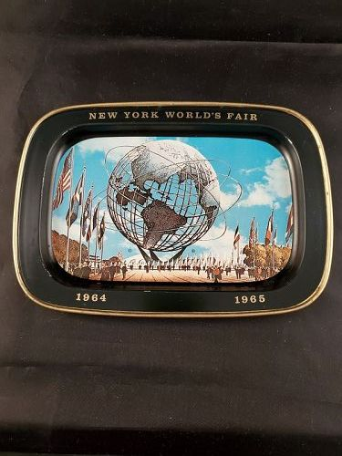 1964 World's Fair metal tray Unisphere 5 by 7 inch
