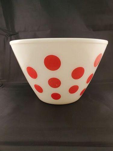 Fire King Red Dot Mixing Bowl  4 quart