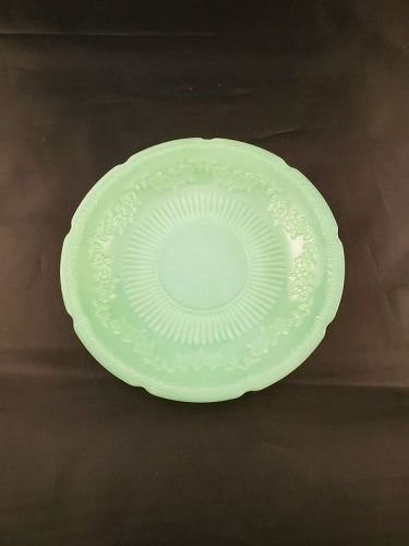 Fire King Jadeite Alice saucer marked Fire King Oven Glass