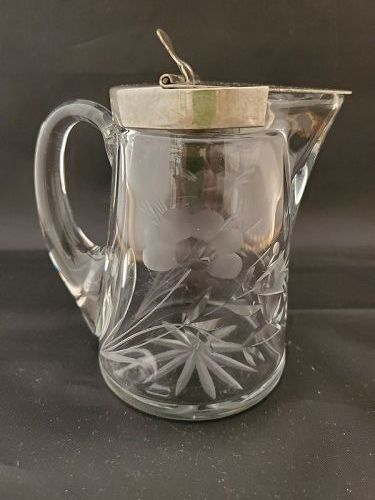 Heisey crystal syrup pitcher  with floral cutting