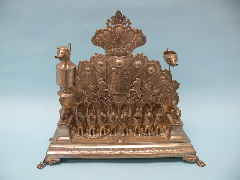 Antique German Silver Chanukah Lamp