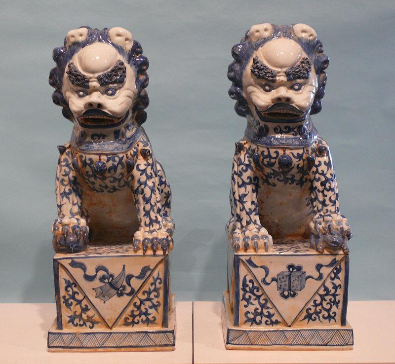 Pair: Chinese Decorative Blue / White Ceramic Foo Dogs