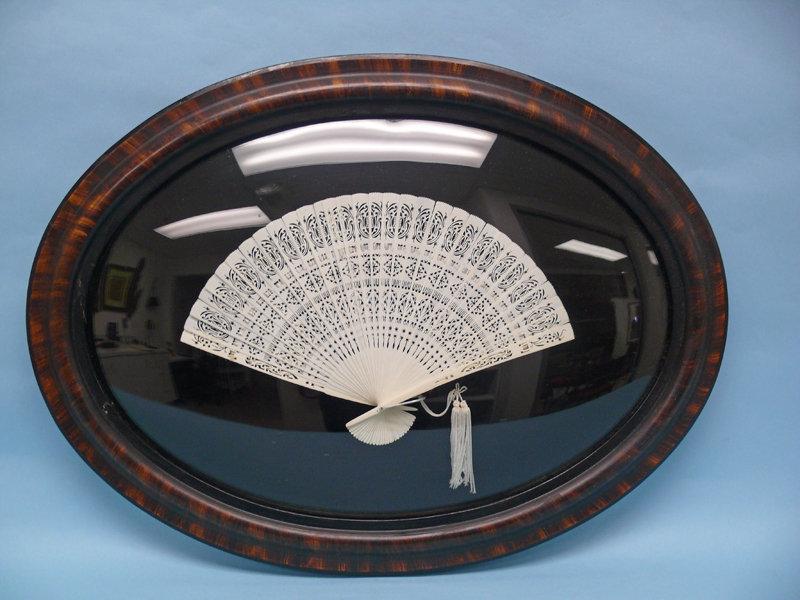 Victorian Ivory Parlor Fan, framed