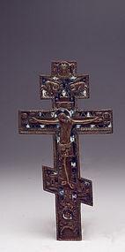 19th Century Russian Enameled Bronze Cross