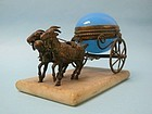 Palais Royal Opaline French Blue Glass Goat Cart