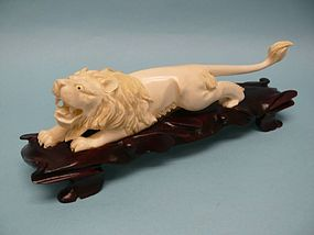 Japanese Carved Ivory Lion on custom Rosewood Base