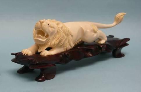 Japanese Carved Ivory Lion on custom Rosewood Base
