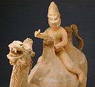 Tang Dynasty Pottery Bactrian Camel & Foreign Rider