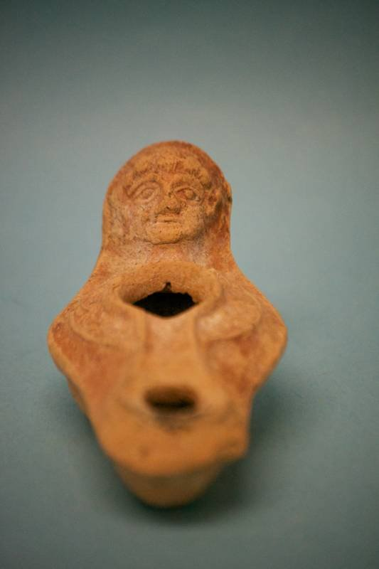Roman Pottery Oil Lamp with Figure for Handle