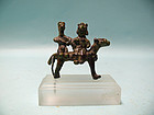 Miniature Amlash Bronze Couple Riding a Horse
