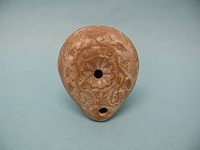 Hellenistic Pottery Oil Lamp with Vine Motif