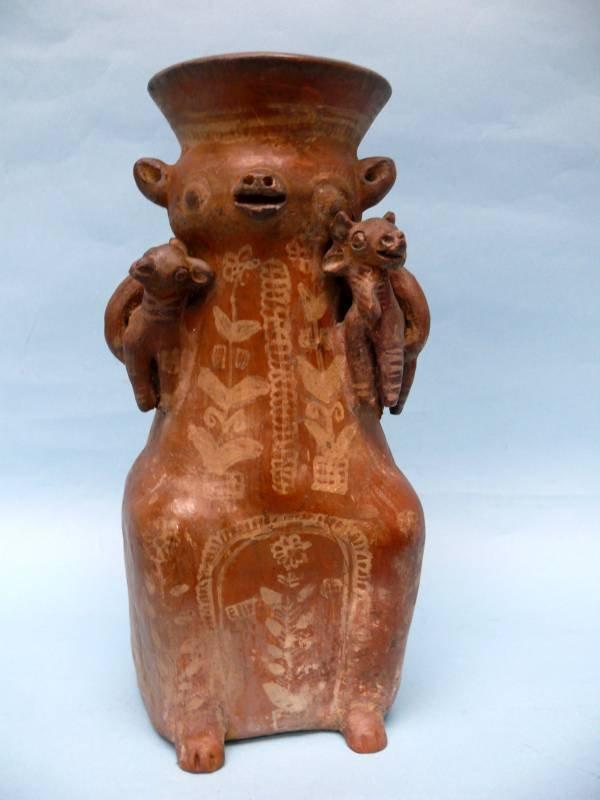 Rare 16th Century Ayacucho Pottery Llama and Twins