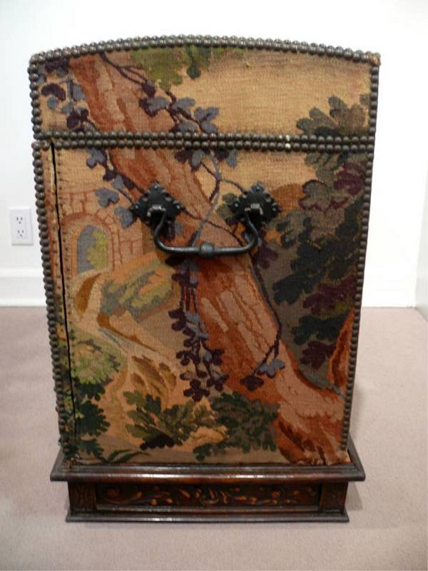 18th Century Continental Oak Trunk, Flemish Tapestry