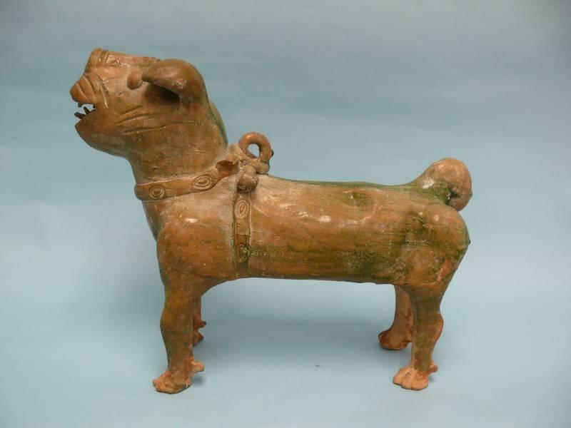 Han Dynasty Glazed Pottery Guard, or Temple Dog