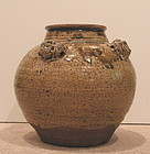 Yuan Dynasty Amber Glazed Pottery Jar with Foo Dogs