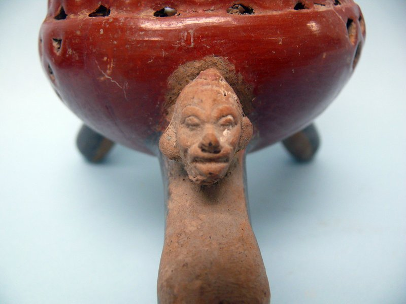 Two Aztec Pottery Ceremonial Censers with Portrait Head & Rattle